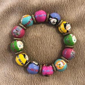 Angela Moore pastel painted cat bead bracelet